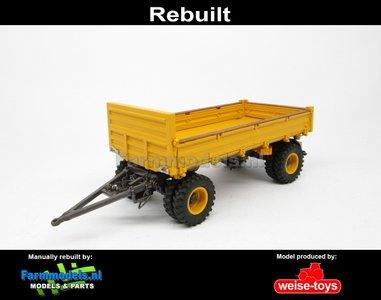 Rebuilt 4-wieler Bakkenwagen DUBBELLUCHT VOLVO GEEL/ GRIJS geschikt voor div. mobiele kranen & shovels 1:32