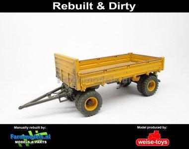 Rebuilt & Dirty 4-wieler Bakkenwagen DUBBELLUCHT VOLVO GEEL/ GRIJS geschikt voor div. mobiele kranen & shovels 1:32