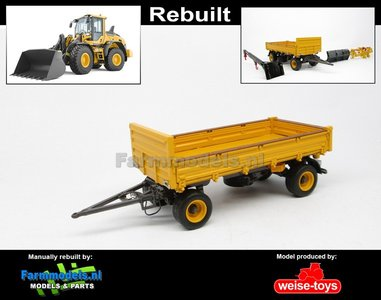 Rebuilt 4-wieler Bakkenwagen ENKELLUCHT VOLVO GEEL/ GRIJS geschikt voor div. mobiele kranen & shovels 1:32