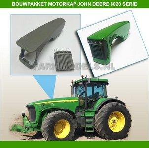 John Deere 8020 ombouwkit: Motorkap + radiateur rooster + 4 werklampen Verbouwset / KIT (01313)