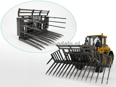 Handgebouwde BECO Grasvork opklapbaar, geschikt voor koppeling Shovel snelwissels 55001 t/m 55050 & Volvo VAB-STD 1:32