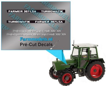 FARMER 307 LSA TURBOMATIK type stickers Pré-Cut Decals 1:32 Farmmodels.nl