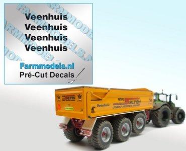 4x Veenhuis Zwart op Transparant 29 mm breed Pré-Cut Decals 1:32 Farmmodels.nl