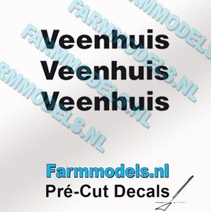 3x Veenhuis Zwart op Transparant 35 mm breed Pré-Cut Decals 1:32 Farmmodels.nl