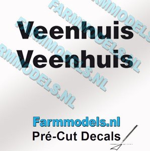 2x Veenhuis Zwart op Transparant 50 mm breed Pré-Cut Decals 1:32 Farmmodels.nl