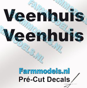 2x Veenhuis Zwart op Transparant 60 mm breed Pré-Cut Decals 1:32 Farmmodels.nl