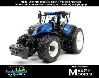 New Holland T7.315 Blue + Demontabel Molcon dubbellucht achteras + Vredestein banden  1:32