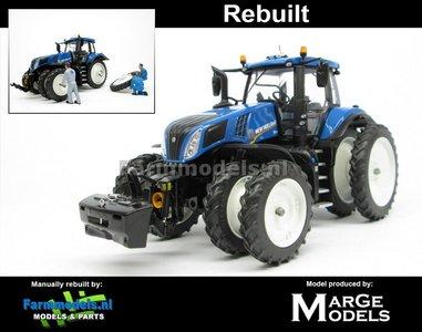 Rebuilt: New Holland T8.534 Blue op 8 Cultuurwielen - Rondom MOLCON Demontabel dubbellucht Rijencultuur 1:32
