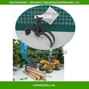 Hout Grijper bouwkit geschikt voor snelwisselset 55001 t/m 55050 & Volvo VAB-STD 1:32