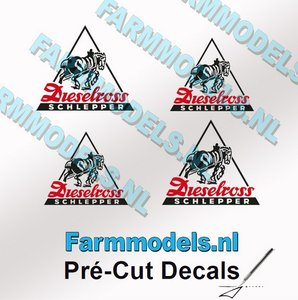 4x Dieselross logo sticker ZWART/ ROOD op Transparant 8x10mm & 12x15mm Pré-Cut Decals 1:32 Farmmodels.nl