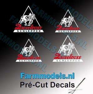 4x Dieselross logo sticker WIT/ ROOD op Transparant 8x10mm & 12x15mm Pré-Cut Decals 1:32 Farmmodels.nl