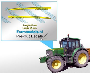 John Deere 6320 type stickers lengte 43 mm/ Pré-Cut Decals 1:32 Farmmodels.nl