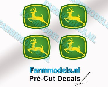 "John Deere LOGO (New) 4x 6mm hoog stickers met omhoog springend ""Hertje"" Pré-Cut Decals 1:32 Farmmodels.nl"