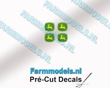 "John Deere LOGO (New) 4x 2.1mm hoog stickers met omhoog springend ""Hertje"" Pré-Cut Decals 1:32 Farmmodels.nl"