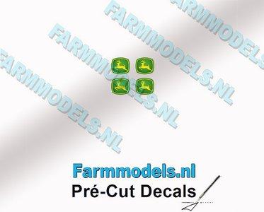 "John Deere LOGO (New) 4x 1.8mm hoog stickers met omhoog springend ""Hertje"" Pré-Cut Decals 1:32 Farmmodels.nl"