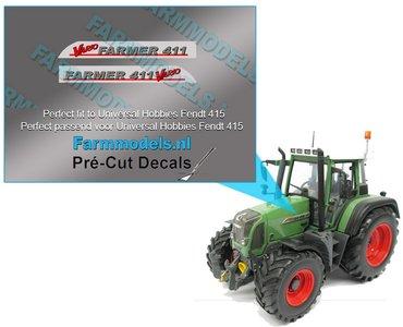 FENDT FARMER 411 Vario (oude logo) type stickers/ Pré-Cut Decals voor motorkap Fendt 415 UH 1:32 Farmmodels.nl