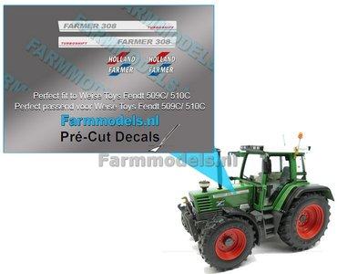 FENDT HOLLAND FARMER 308 TURBOMATIK type stickers Pré-Cut Decals 1:32 Farmmodels.nl