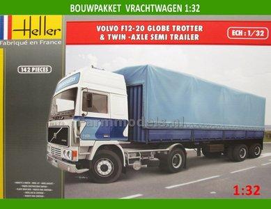 Volvo F12-20 Globe Trotter & Twin Axle Semi Trailer Bouwpakket 1:32 Heller hel81703