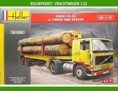 Volvo F12-20 Globe Trotter & Timber Semi Trailer Bouwpakket 1:32 Heller hel81704