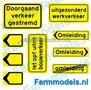 DVG-00001-Doorgaand-Verkeer-Verkeers-stickers-zwart-op-geel-1:32