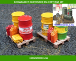 21881-3-Olietonnen-8-Jerry-cans-een-Oliekraan-+-Oliepomp-2-pallets-&-49-stickers
