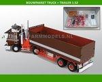 28199--Truck-+-Open-Trailer-Bouwpakket-incl.-14x-rubber-(dubbellucht)-banden-+-velgen-+-eind-doppen-1:32-(41)-(O)