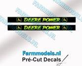 2x-DEERE-POWER-Sierletter-voorruit-stickers-GEEL--GROEN-op-ZWARTE-achtergrond-40-mm-breed-Pré-Cut-Decals-1:32-Farmmodels.nl