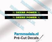 2x-DEERE-POWER-Blokletters-voorruit-stickers-GEEL--GROEN-op-ZWARTE-achtergrond-40-mm-breed-Pré-Cut-Decals-1:32-Farmmodels.nl