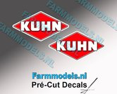 KUHN-logo-stickers-2x-12-mm-hoog--Pré-Cut-Decals-1:32-Farmmodels.nl