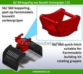 HULPSTUK--Koppelstuk-S6--S60-Koppeling-naar-Farmmodels-BOUWKIT-Sorteergrijper-1:32