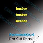3x-berber-logo-GEEL-op-transparant-2.5-mm-hoog-Pré-Cut-Decals-1:32-Farmmodels.nl