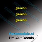 3x-garron-logo-GEEL-op-transparant-2.5-mm-hoog-Pré-Cut-Decals-1:32-Farmmodels.nl
