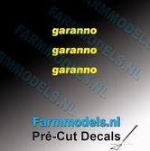 3x-garanno-logo-GEEL-op-transparant-2.5-mm-hoog-Pré-Cut-Decals-1:32-Farmmodels.nl