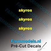 3x-skyros-logo-GEEL-op-transparant-2.5-mm-hoog-Pré-Cut-Decals-1:32-Farmmodels.nl