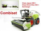 COMBISET-Claas-Jaguar-980-MargeModels-met-Direct-Disc-520-en-aanhanger-Wiking-1:32