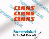 CLAAS-stickers-ORANJE-op-transparante-folie-3-mm-hoog-Pré-Cut-Decals-1:32-Farmmodels.nl