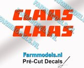 CLAAS-stickers-ORANJE-op-transparante-folie-7-mm-hoog-Pré-Cut-Decals-1:32-Farmmodels.nl