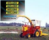 WELGRO-logo-oud-CURSIEF-3-mm-hoog-stickers-Pré-Cut-Decals-ZWART-op-GELE-folie-1:32-Farmmodels.nl