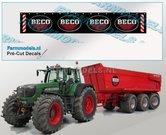 BECO-Spatlapsticker-(4x-logo)-met-verdrijvingsstrepen-&-tekst-op-ZWART-MATT-folie-14.5-x-88-mm-breed-Pré-Cut-Decals-1:32-Farmmodels.nl