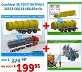 COMBISET:-Mestoplegger-+-SuperSingle-Banden-+-Monstercabinet-+-Opbergkistenset-(VMA-D-Tec)-3-asser-mest-trailer-1:32-SUPERSTUNT-uitlevering2de-helft-maart