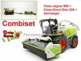 COMBISET-Claas-Jaguar-980-MargeModels-met-Direct-Disc-520-en-aanhanger-Wiking-1:32----SUPERSALE