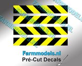 Verdrijvingsbord--Verkeer-stickers-ZWART--GEEL-ong.-6mm-x-40mm---Pré-Cut-Decals-1:32-Farmmodels.nl