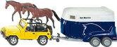 Jeep-Wrangler-met-paardentrailer-aanhanger-en-2-paarden-1:32