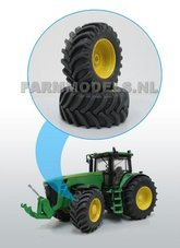 Aluminium-vooras-velgen-Geel-+-MF-Brede-banden-John-Deere-8500-Precision-serie-1:32