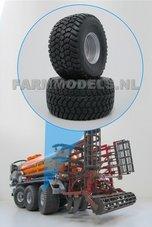 2x-Michelin-Cargo-X-Bib-850-50-R30.5-banden-Ø-52-mm-met-zilvergrijs-gespoten-aluminium-velgen-1:32-EXPECTED
