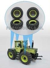4x-MB-TRac-licht-groen-Inlegring-verbreder-voorasvelg-+-Brede-vooras-Banden-geschikt-voor-MB-trac-1600-1:32
