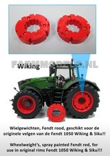 29522-2x-Wielgewicht-Fendt-Rood-Original-Fendt-1050-Wiking-&-Siku--Ø-32.3-mm
