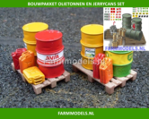 21881-3-Olietonnen-8-Jerry-cans-een-Oliekraan-+-Oliepomp-2-pallets-&-49-stickers