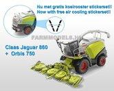 Claas-Jaguar-860-+-Orbis-750-+-gratis-stickerset-koel-roosters-op-transparant-1:32-Wiking77812