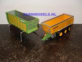 COMBISET:-Joskin-ROS-Silagebak-+-Trans-Cargo-landbouwbak-+-groen-3--asser-chassis-1:32